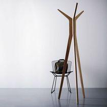 Floor coat rack / contemporary / birch / wenge