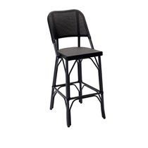 Traditional bar chair / stackable / fabric / lacquered aluminum