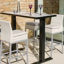 Contemporary bar chair / with footrest / wicker / aluminum