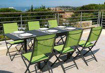 Contemporary dining table / lacquered steel / rectangular / outdoor