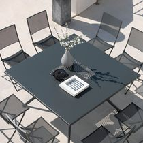 Contemporary dining table / steel / square / outdoor