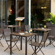 Contemporary table / galvanized steel / square / outdoor