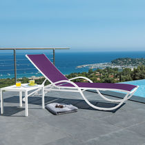 Contemporary side table / lacquered aluminum / square / outdoor