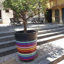 Thermo-lacquered steel planter / conical / contemporary / for public spaces