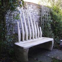 Public bench / original design / wooden / with backrest