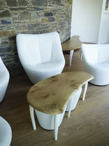 Coffee table / contemporary / wooden / half moon