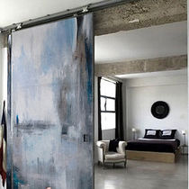 Indoor door / sliding / solid wood / full-height
