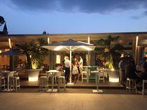 Bar patio umbrella / for hotels / aluminum / with built-in light