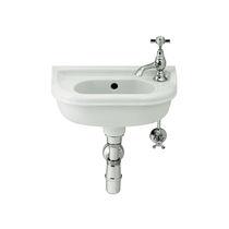 Wall-mounted hand basin / rectangular / porcelain