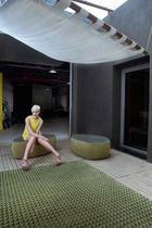 Contemporary rug / striped / wool / silk