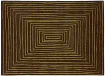 Contemporary rug / striped / wool / square
