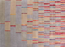 Contemporary rug / striped / wool / silk