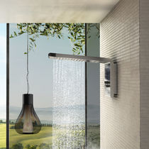 Wall-mounted shower head / rectangular / waterfall / rain
