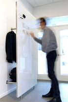 Wall-mounted wardrobe / contemporary / glass / steel