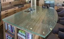 Glass countertop / heat-resistant / stain-proof / antibacterial