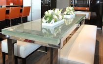 Dining table / contemporary / glass / aluminum