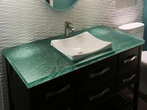 Glass vanity top / recycled / custom / with indirect lighting