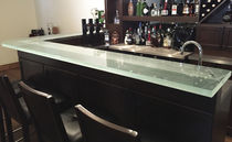 Bar counter / kitchen / glass / angled