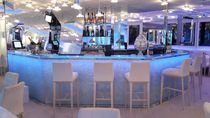 Bar counter / glass / illuminated / original design