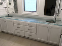 Glass vanity top / custom / recycled / with indirect lighting