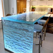 Kitchen counter / glass / L-shaped / upright