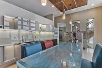 Kitchen counter / glass / upright / L-shaped