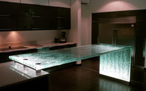 Kitchen counter / glass / upright / illuminated