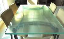 Contemporary table / glass / rectangular