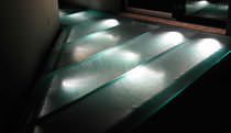 Walkway glass panel / non-slip / patterned
