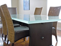 Dining table / original design / glass / rectangular