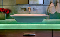 Glass vanity top / custom / with indirect lighting