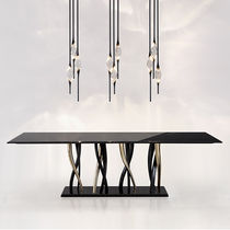Contemporary table / brass / marble / rectangular