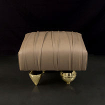 Original design pouf / velvet / leather / brass