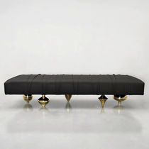 Original design ottoman / leather / custom / upholstered