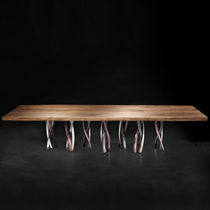 Original design dining table / solid wood / American walnut / aluminum