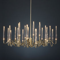 Original design chandelier / crystal / brass / nickel