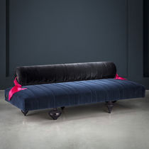 Original design upholstered bench / leather / velvet / brass