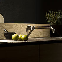 Wall-mounted mixer tap / built-in / stainless steel / kitchen