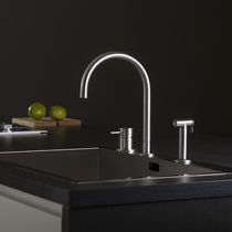 Stainless steel mixer tap / kitchen / 3-hole / swivel spout