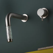 Washbasin mixer tap / wall-mounted / built-in / stainless steel