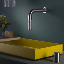 Washbasin mixer tap / wall-mounted / stainless steel / glass