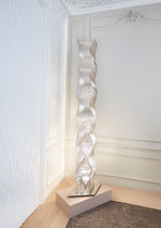 Contemporary light column / stainless steel / halogen / indoor