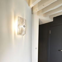 Contemporary wall light / stainless steel / halogen / rectangular