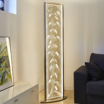 Contemporary light column / stainless steel / LED / indoor