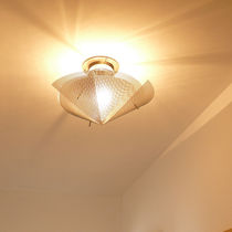 Contemporary ceiling light / round / stainless steel / halogen