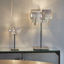 Table lamp / contemporary / polished stainless steel / halogen