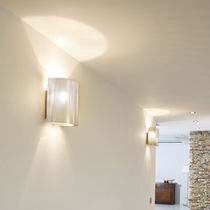 Contemporary wall light / stainless steel / LED / halogen