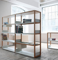 Modular shelf / contemporary / metal / in wood