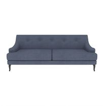 Traditional sofa / linen / 2-seater / blue