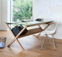 Contemporary desk / in wood / glass